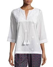 Embroidered Cotton Tassel-Tie Top, Clean White