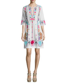Half-Sleeve Embroidered Silk Tunic Dress, Clean White
