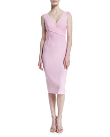 Sleeveless Crepe Crisscross Sheath Dress, Pastel Pink