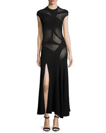 Cap-Sleeve Sheer Jewel-Neck Maxi Dress, Black