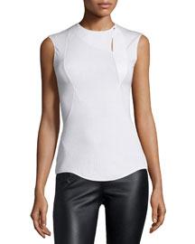 Sleeveless Jewel-Neck Top, White