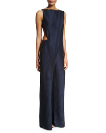 Sleeveless Open-Back Cutout Jumpsuit, Navy