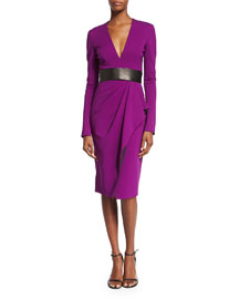 Long-Sleeve V-Neck Jersey Dress, Orchid