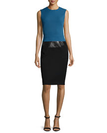 Sleeveless Two-Tone Sheath Dress, Blue Steel
