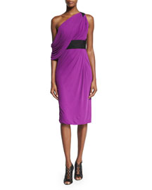 Draped Jersey Off-the-Shoulder Dress, Orchid