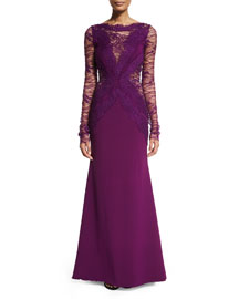 Bateau-Neck Long-Sleeve Graphic Lace Gown, Orchid