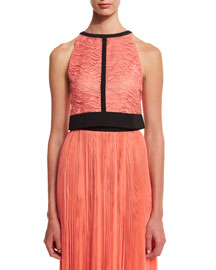 Lace Halter-Neck Crop Top, Coral