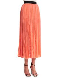 Pleated Silk Chiffon Midi Skirt, Coral