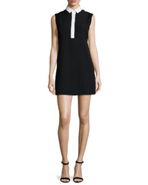 Contrast-Collar Sleeveless Silk Dress, Black