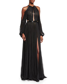 Pleated Cutout Silk Chiffon Halter Gown, Black