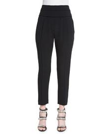 Silk-Blend Crepe Cropped Tuxedo Pants, Black