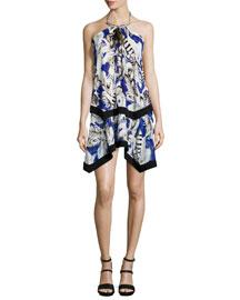 Floral-Print Georgette Halter Dress, Blue
