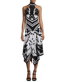 Silk Crepe de Chine Handkerchief Halter Dress, Black/White