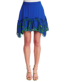 Feather-Embroidered Satin Skirt, Blue