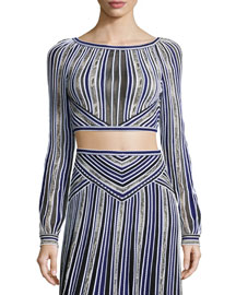 Long-Sleeve Metallic Striped Crop Top, Blue