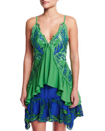 Feather-Embroidered Satin Ruffle Top, Green