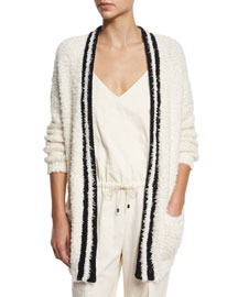 Long-Sleeve Contrast-Trim Cardigan, Butter/Black