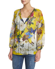 Floral-Print Silk Georgette Kaftan Top, Yellow