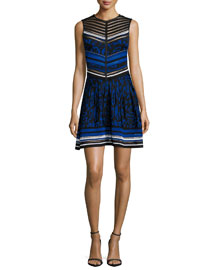 Sleeveless Jacquard Fit-and-Flare Dress, Blue
