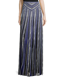 Long Metallic Striped Skirt, Blue