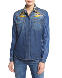 Embroidered Chambray Button-Down Top, Denim