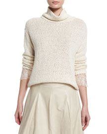 Knit Lace-Cuff Turtleneck Sweater, Butter
