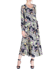 Long-Sleeve Paisley-Print Silk Swing Dress, Black/Multi