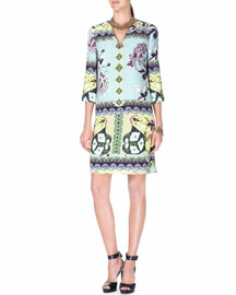 Split-Neck 3/4-Sleeve Watercolor-Print Silk Dress, Aqua