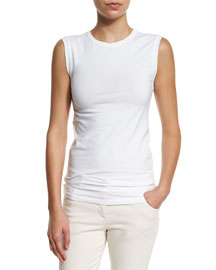 Stretch-Cotton Muscle Tank Top, White