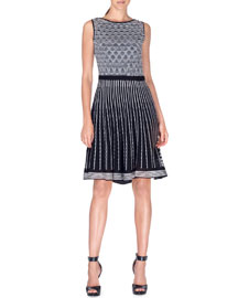 Sleeveless Striped Knit Fit-and-Flare Dress, Black/White