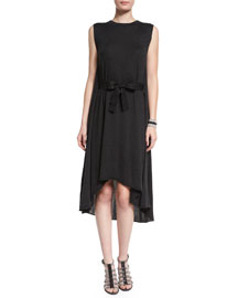 Sleeveless Cashmere-Silk Bow-Waist Dress, Anthracite