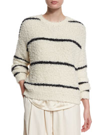 Long-Sleeve Striped Pullover, Cream/Black