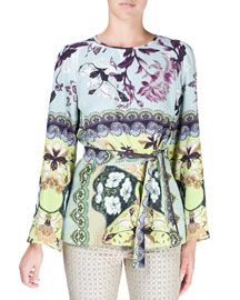 Watercolor Floral-Print Bell-Sleeve Silk Tunic, Aqua