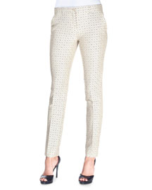 Diamond-Print Stretch-Jacquard Pants, Beige