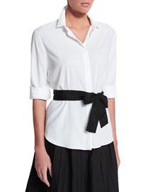 Poplin Shirt w/Contrast Belt, White