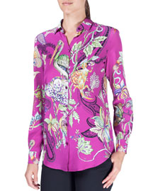 Floral Menagerie Long-Sleeve Silk Blouse, Pink