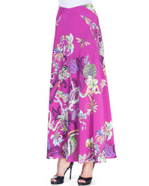 Floral Menagerie Silk Maxi Skirt, Pink