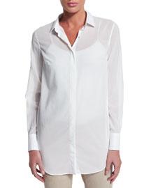 Long-Sleeve Cotton Chiffon Blouse, White