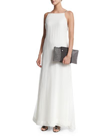 Monili-Strap A-Line Gown, White