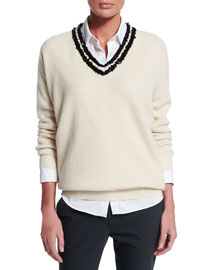 Sequined V-Neck Cashmere Sweater, Butter