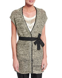 Paillette-Embellished Sleeveless Sweater w/Belt, Black/White