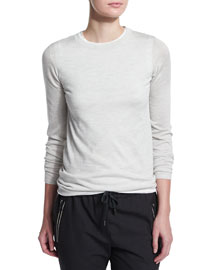 Long-Sleeve Crewneck Sweater, Light Gray