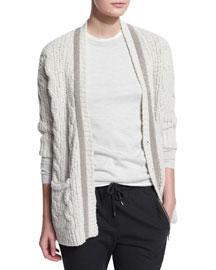 Monili-Beaded Cable-Knit Cardigan, Ivory