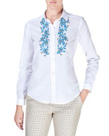 Embroidered Cotton Button-Down Blouse, White