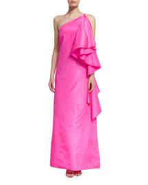 Sir Hangs-a-Lot Ruffled Silk Gown, Pink