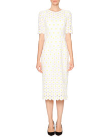 Macrame Embroidered-Daisy Sheath Dress, White/Yellow