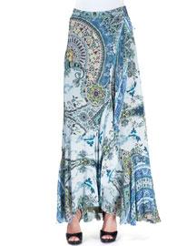 Ruffled Paisley-Print Maxi Skirt, Blue/Green
