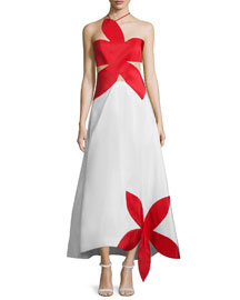 Flower-Stamp Cutout Silk Gown, White/Red