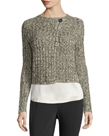 Long-Sleeve One-Button Cropped Sweater, Black/Cream