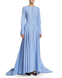 The Franciscan Button-Front Maxi Dress, Blue